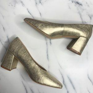 Anthropologie M4D3 Helen Block Heels Gold Metallic